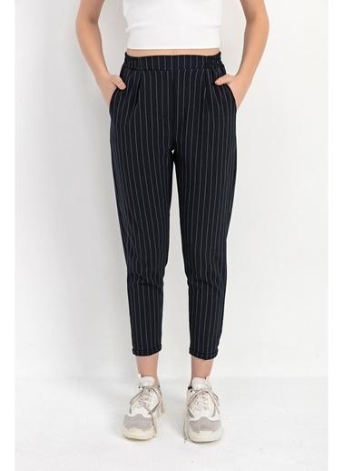 Tiffany&Tomato Beli Lastik Duble Paça Çizgili Havuç Pantolon - Siyah Lacivert